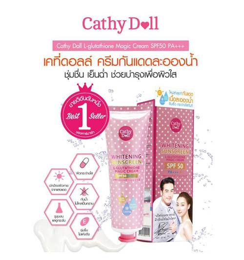 Kem Chống Nắng CathyDoll‬ whiterning suncream l-glutathione magic cream spf 50++